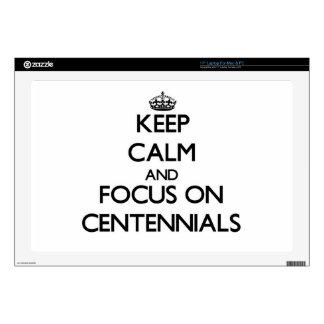"""Keep Calm and focus on Centennials 17"""" Laptop Skin"""