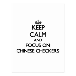 Keep calm and focus on Chinese Checkers Postcard