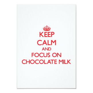 Keep Calm and focus on Chocolate Milk 3.5x5 Paper Invitation Card