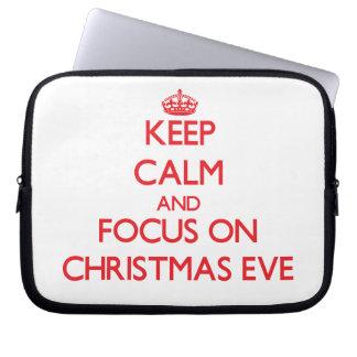 Keep Calm and focus on Christmas Eve Laptop Computer Sleeve