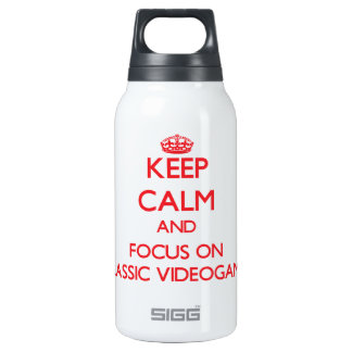 Keep calm and focus on Classic Videogames 10 Oz Insulated SIGG Thermos Water Bottle