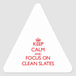 Keep Calm and focus on Clean Slates Triangle Sticker