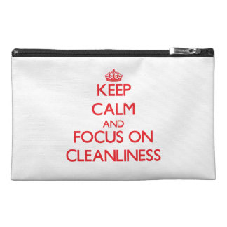 Keep Calm and focus on Cleanliness Travel Accessories Bags