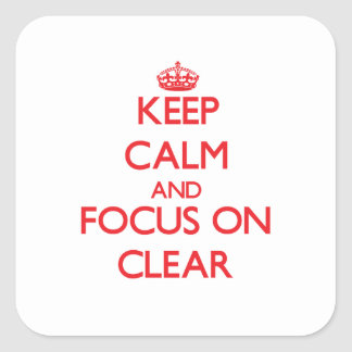 Keep Calm and focus on Clear Square Sticker