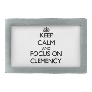 Keep Calm and focus on Clemency Rectangular Belt Buckles