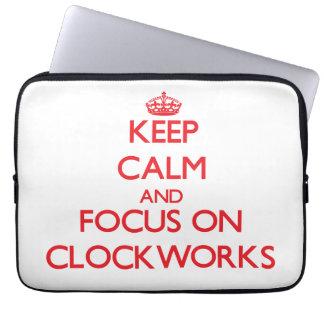 Keep Calm and focus on Clockworks Laptop Sleeves