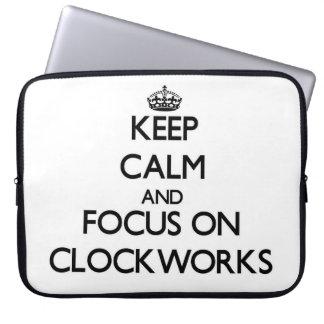 Keep Calm and focus on Clockworks Laptop Computer Sleeve