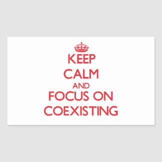 Keep Calm and focus on Coexisting Rectangular Sticker
