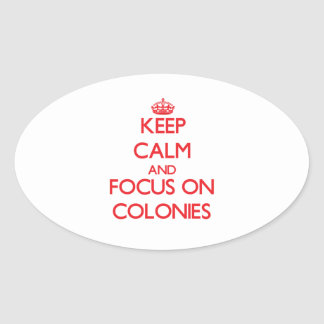 Keep Calm and focus on Colonies Oval Stickers