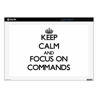 """Keep Calm and focus on Commands 17"""" Laptop Decals"""