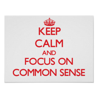 Keep Calm and focus on Common Sense Poster
