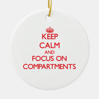 Keep Calm and focus on Compartments Double-Sided Ceramic Round Christmas Ornament