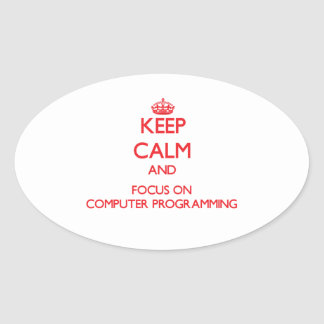 Keep calm and focus on Computer Programming Oval Sticker
