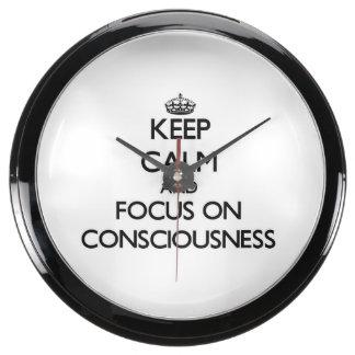 Keep Calm and focus on Consciousness Fish Tank Clock
