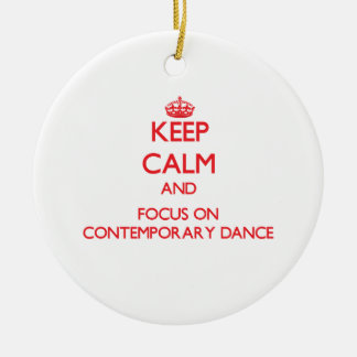Keep calm and focus on Contemporary Dance Double-Sided Ceramic Round Christmas Ornament
