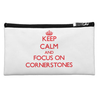 Keep Calm and focus on Cornerstones Cosmetic Bags