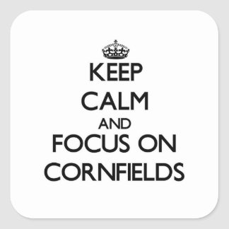 Keep Calm and focus on Cornfields Square Sticker