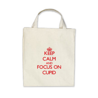Keep Calm and focus on Cupid Canvas Bags