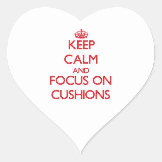 Keep Calm and focus on Cushions Heart Sticker