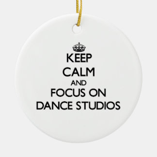 Keep Calm and focus on Dance Studios Double-Sided Ceramic Round Christmas Ornament