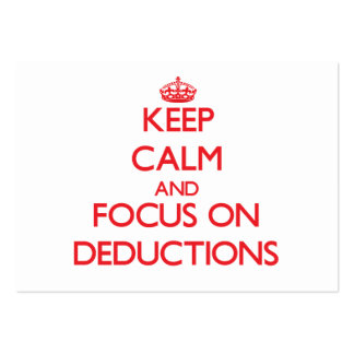 Keep Calm and focus on Deductions Business Card Template