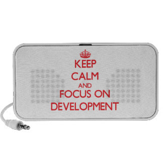 Keep Calm and focus on Development Notebook Speakers