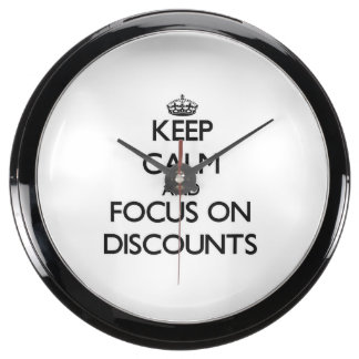 Keep Calm and focus on Discounts Aqua Clock