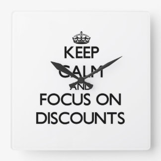 Keep Calm and focus on Discounts Wall Clocks