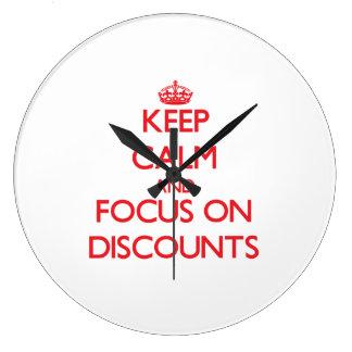 Keep Calm and focus on Discounts Wallclocks