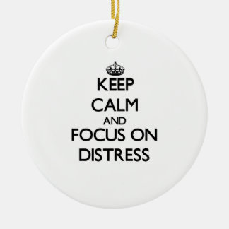 Keep Calm and focus on Distress Double-Sided Ceramic Round Christmas Ornament