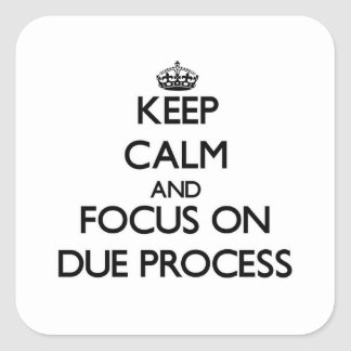 Keep Calm and focus on Due Process Square Sticker