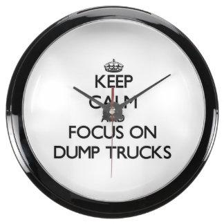Keep Calm and focus on Dump Trucks Aquarium Clocks