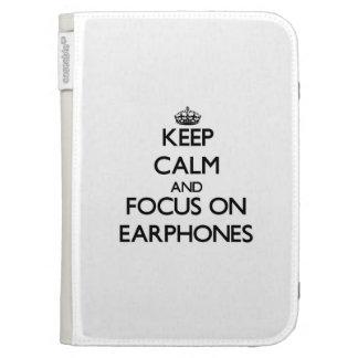 Keep Calm and focus on EARPHONES Kindle Folio Cases