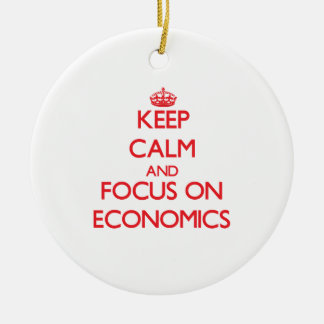 Keep Calm and focus on ECONOMICS Double-Sided Ceramic Round Christmas Ornament