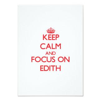 Keep Calm and focus on Edith 5x7 Paper Invitation Card
