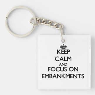Keep Calm and focus on EMBANKMENTS Square Acrylic Keychain