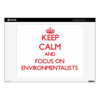 "Keep Calm and focus on ENVIRONMENTALISTS 14"" Laptop Decal"