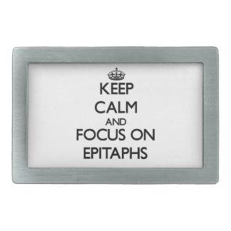 Keep Calm and focus on EPITAPHS Rectangular Belt Buckles