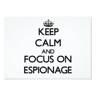 Keep Calm and focus on ESPIONAGE 5x7 Paper Invitation Card