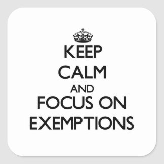 Keep Calm and focus on EXEMPTIONS Square Stickers