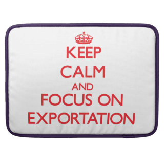 Keep Calm and focus on EXPORTATION MacBook Pro Sleeves