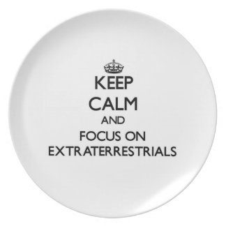 Keep Calm and focus on EXTRATERRESTRIALS Party Plates
