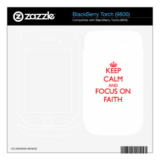 Keep Calm and focus on Faith BlackBerry Skins