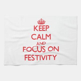 Keep Calm and focus on Festivity Hand Towel