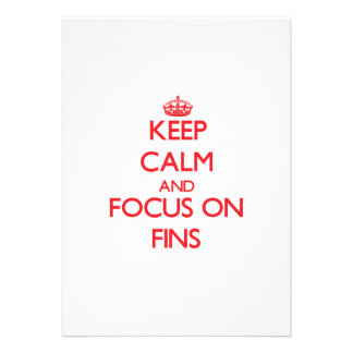 Keep Calm and focus on Fins Personalized Invites