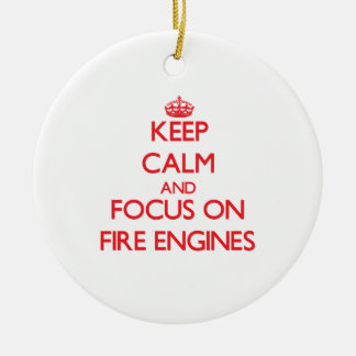 Keep Calm and focus on Fire Engines Double-Sided Ceramic Round Christmas Ornament