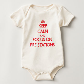 Keep Calm and focus on Fire Stations Baby Bodysuit