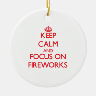 Keep calm and focus on Fireworks Double-Sided Ceramic Round Christmas Ornament