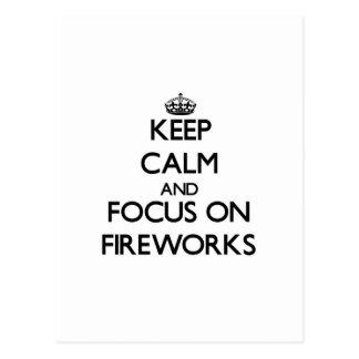 Keep calm and focus on Fireworks Postcard