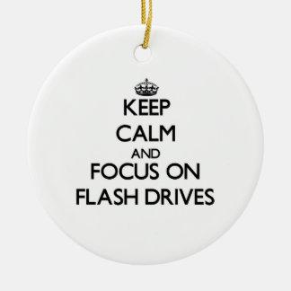 Keep Calm and focus on Flash Drives Christmas Ornaments